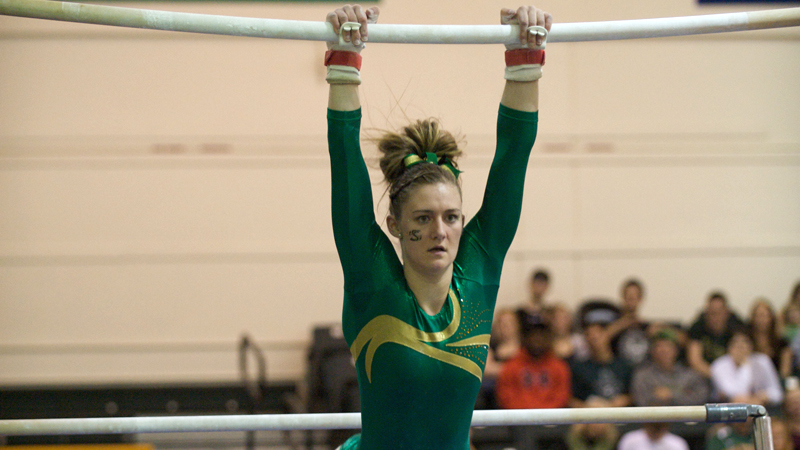 McCARTNEY, MEILLER LEAD GYMNASTICS TO CONVINCING VICTORY