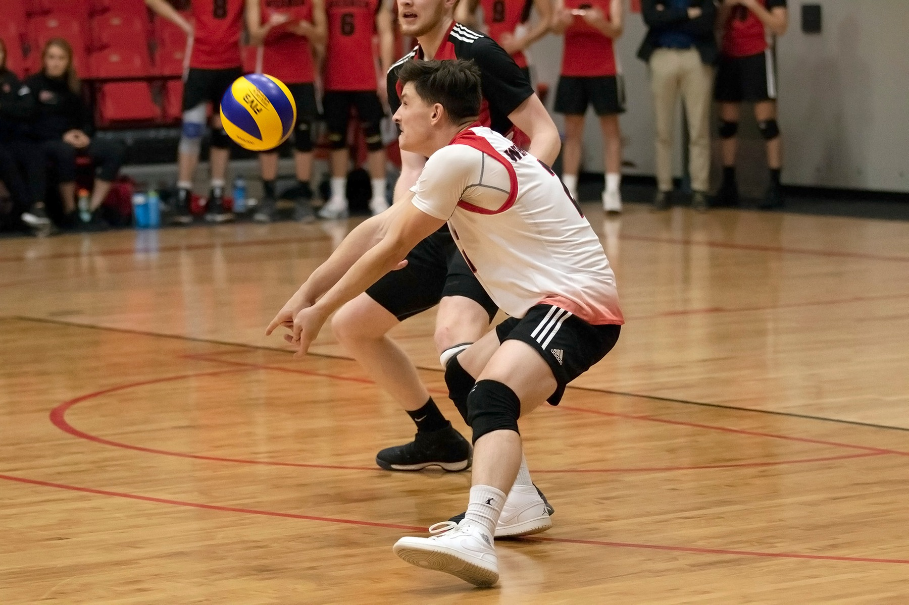Wesmen libero Darian Picklyk digs up a Mount Royal attack during Winnipeg's loss to the Cougars on Friday, Nov. 23, 2018. (David Larkins/Wesmen Athletics)
