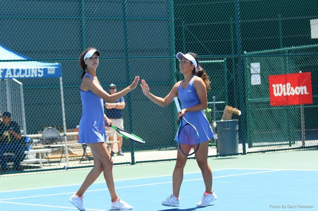 Kseniia Prokopchuk (left) teamed with Lisa Suzuki to win the state doubles title