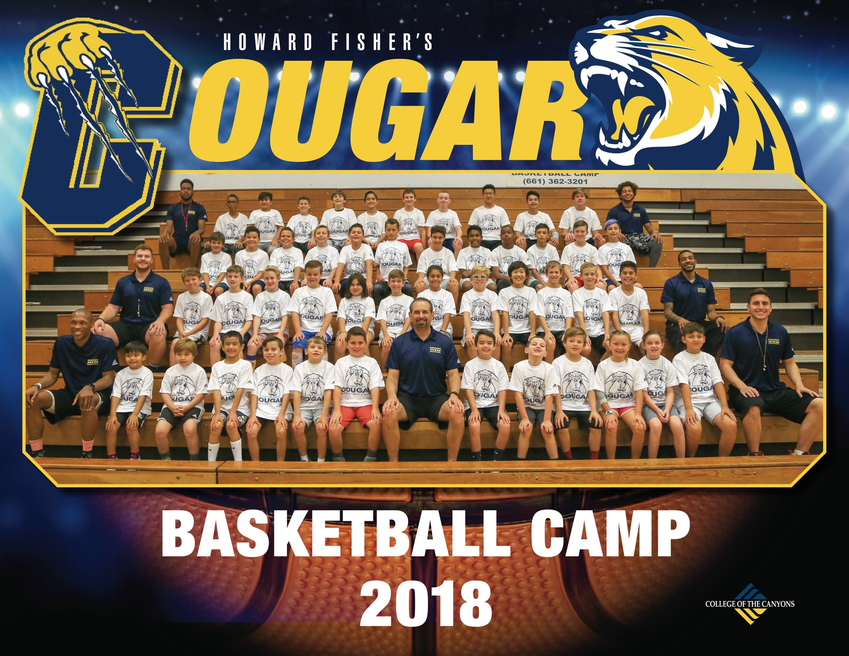 Howard Fisher Cougar Basketbal Camo 2018 group photo.
