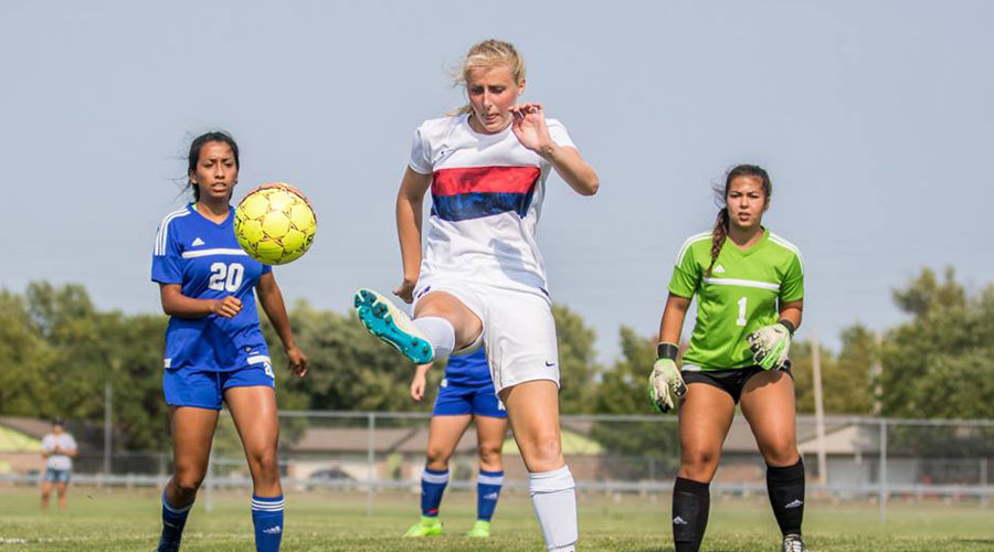 Sheene Nichol had a first-half goal ans the No. 19 Blue Dragons defeated Northwest Tech 2-1 on Saturday in Goodland. (Joel Powers/Blue Dragon Sports Information)