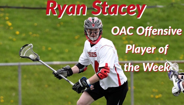 Ryan Stacey named OAC Men's Lacrosse Offensive Player of the Week