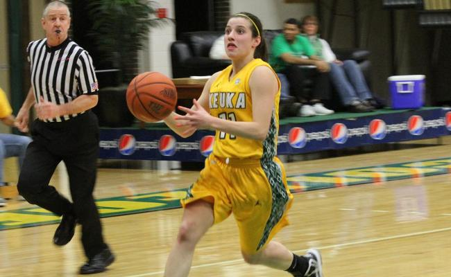 Senior Jessica Bandrowski scored 15 points with 5 rebounds, 3 assists and 3 steals in Keuka's 92-70 loss to William Smith.