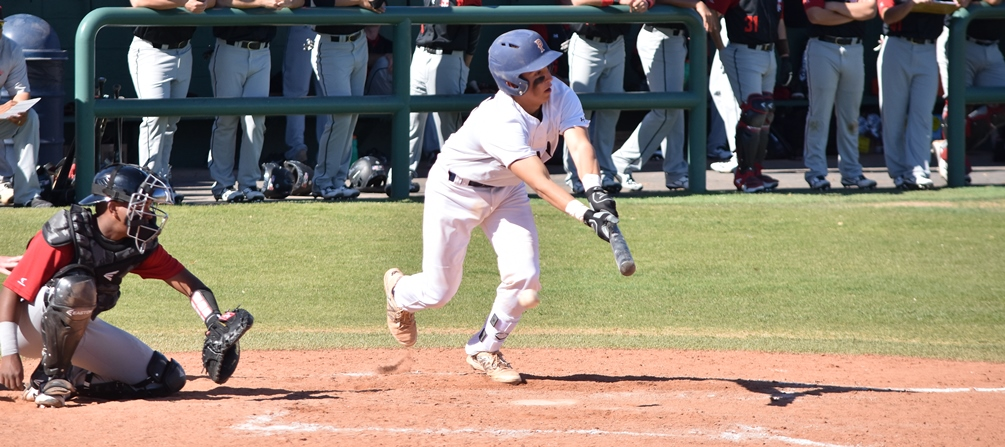 Freshman Javier Nava went 5 for 7 at the plate with an RBI and a run scored but the Aztecs were swept at the West Campus Baseball Field by Yavapai College. The Aztecs fell to 14-14 overall and 6-12 in ACCAC conference play. Photo by Ben Carbajal