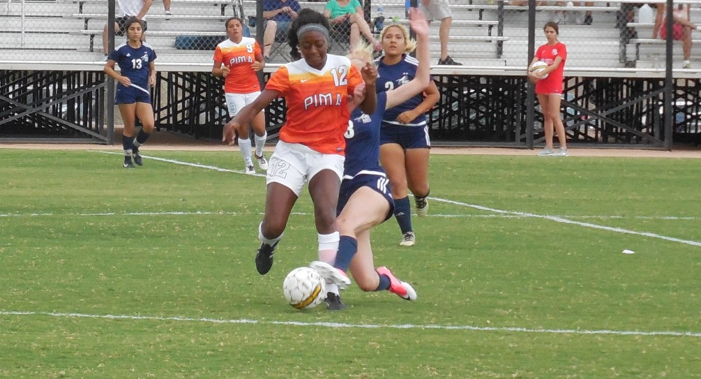 Sophomore Johmonique Smith (Cienega HS) put the Aztecs on the board in the 6th minute as the Aztecs defeated Chandler-Gilbert Community College 2-0 earning their sixth shutout victory of the season. The Aztecs are 12-4-1 on the season. Photo by Raymond Suarez.
