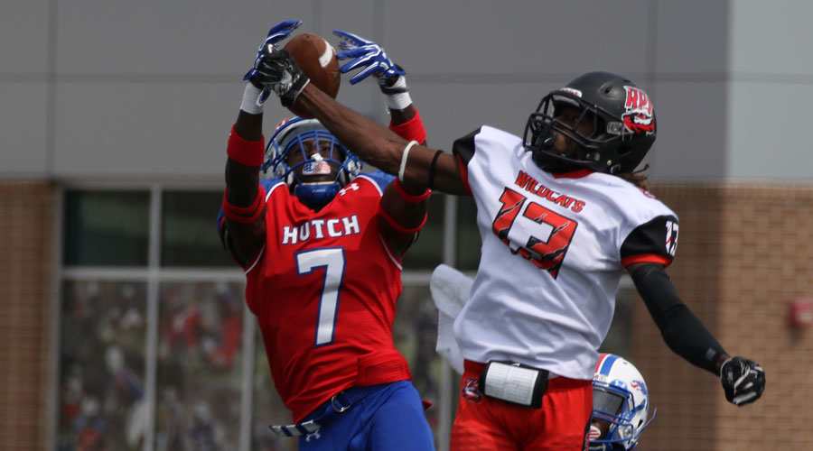 Kendel Robinson (7) intercepted this pass and returned for one of a school-record three pick-sixes in Hutchinson's 91-0 victory over Rezolution Prep on Saturday at Gowans Stadium. (Joel Powers/Blue Dragon Sports Information)