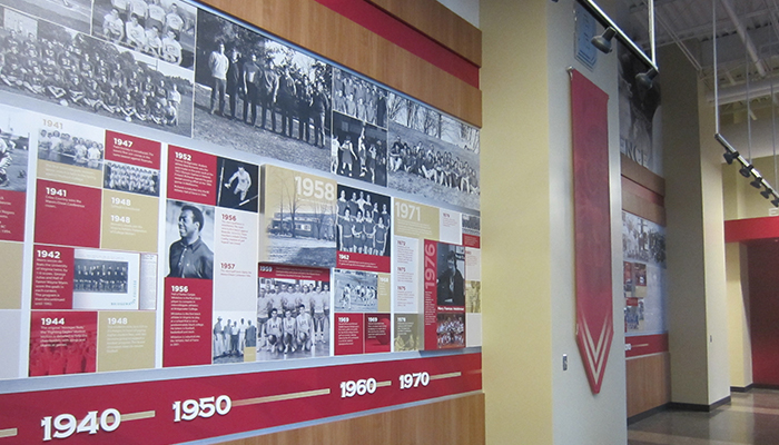 the timeline wall in the hall of fame hallway