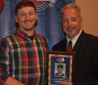 First-team all-CACC selection Aaron Brill with commissioner Dan Mara. (Ellen O'Brien)