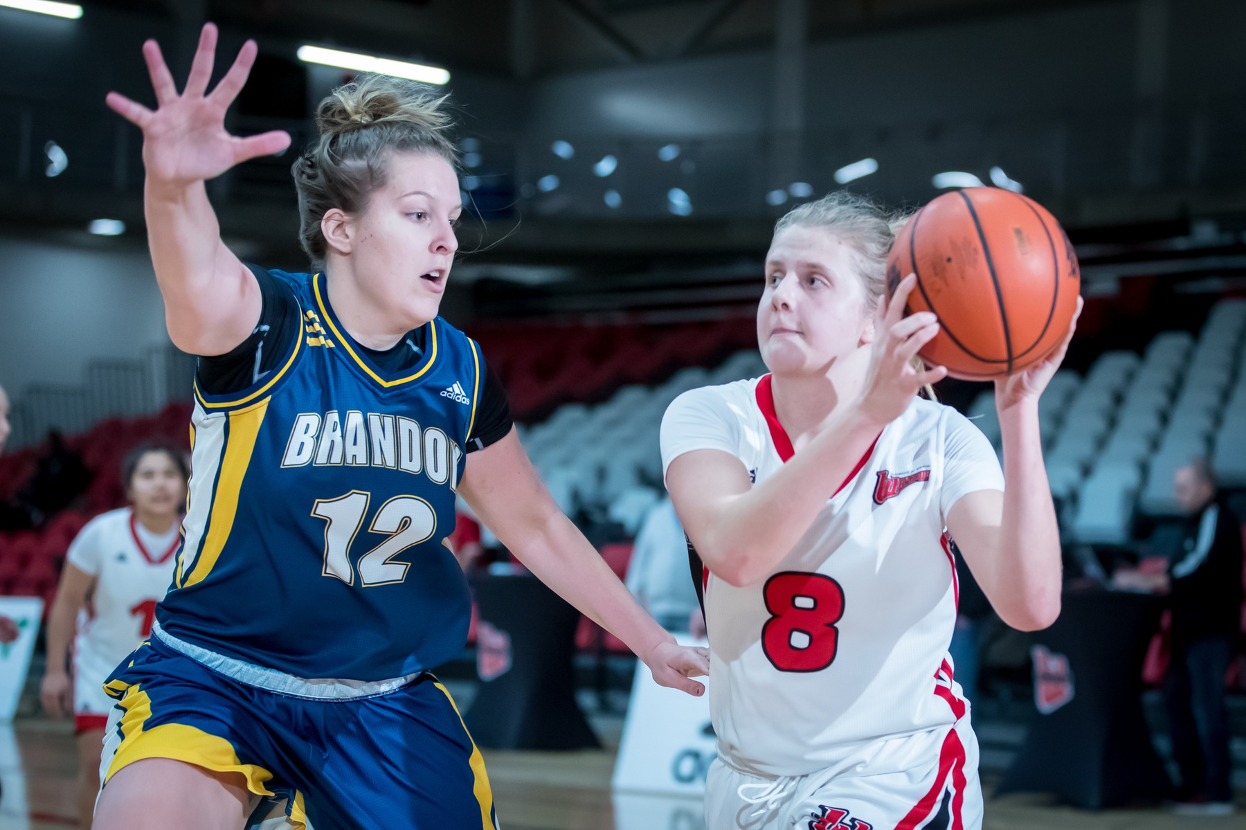 Freshman Mikayla Funk had a career-high 13 rebounds against the Trinity Western Spartans Friday night in Langley, B.C. (Kelly Morton/Wesmen Athletics file)