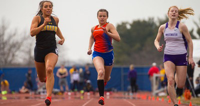 UW-Oshkosh's Emily Reichenberger won the 100-meter dash at the UW-Platteville Invitational.