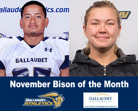 BJ Flores and Alexandra Polivanchuk named November Bison of the Month presented by Gallaudet Interpreting Services