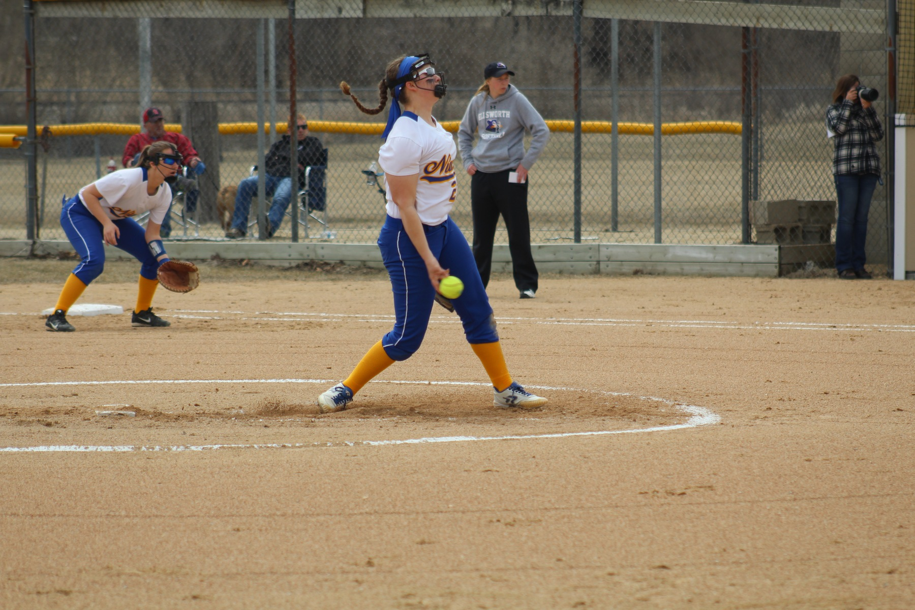 Alyssa Laxson delivers a pitch in first game of Thursday's twinbill.