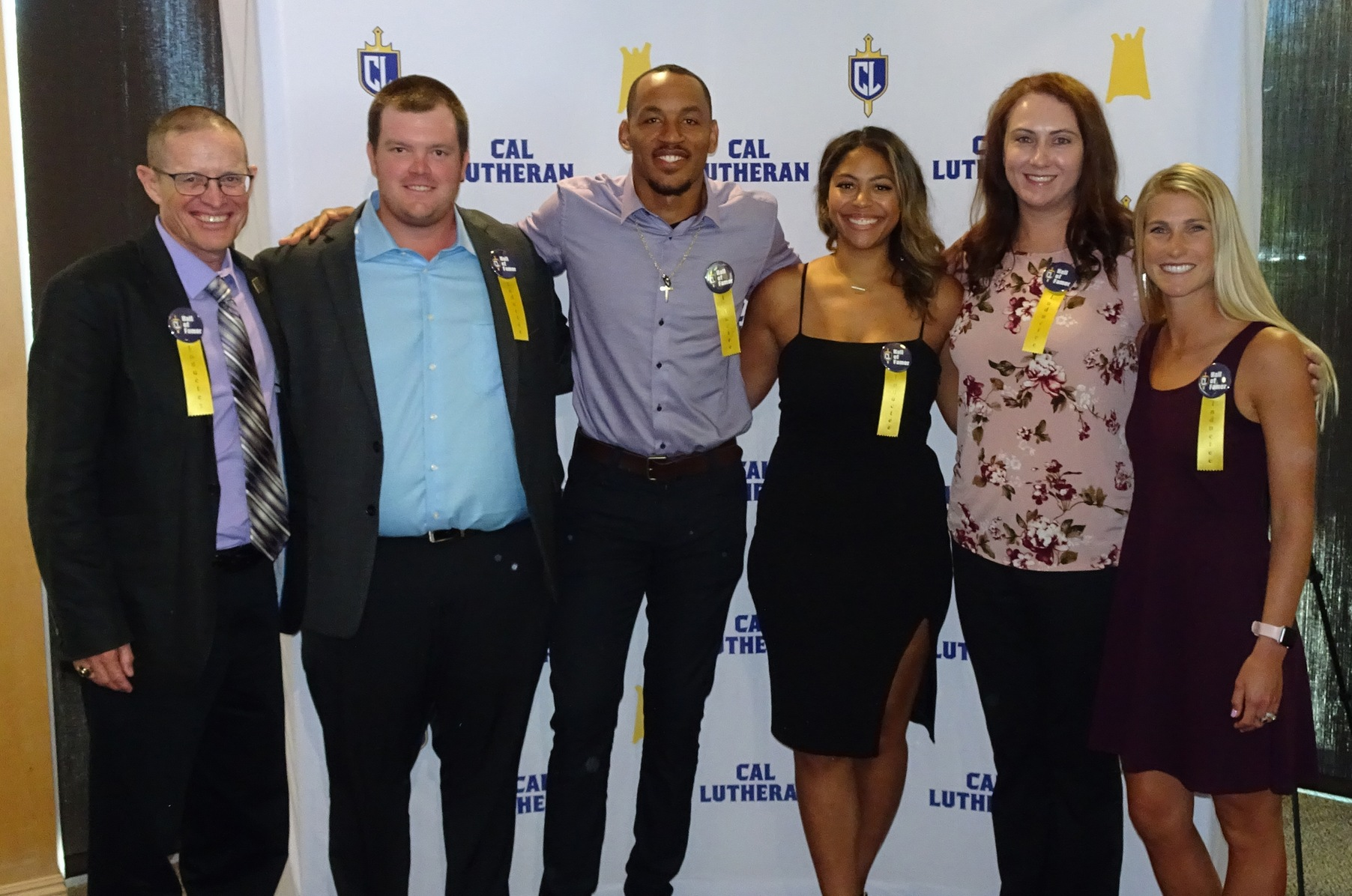 The 2019 Alumni Association Hall of Fame Class, from left to right, Steve Blum, Mikey McGinn, Eric Rogers, Kylie McLogan, Lauren (Stroot) Reynolds, and Jackie (Russell) Griffin.