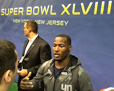 Seattle's Derrick Coleman at Super Bowl Media Day