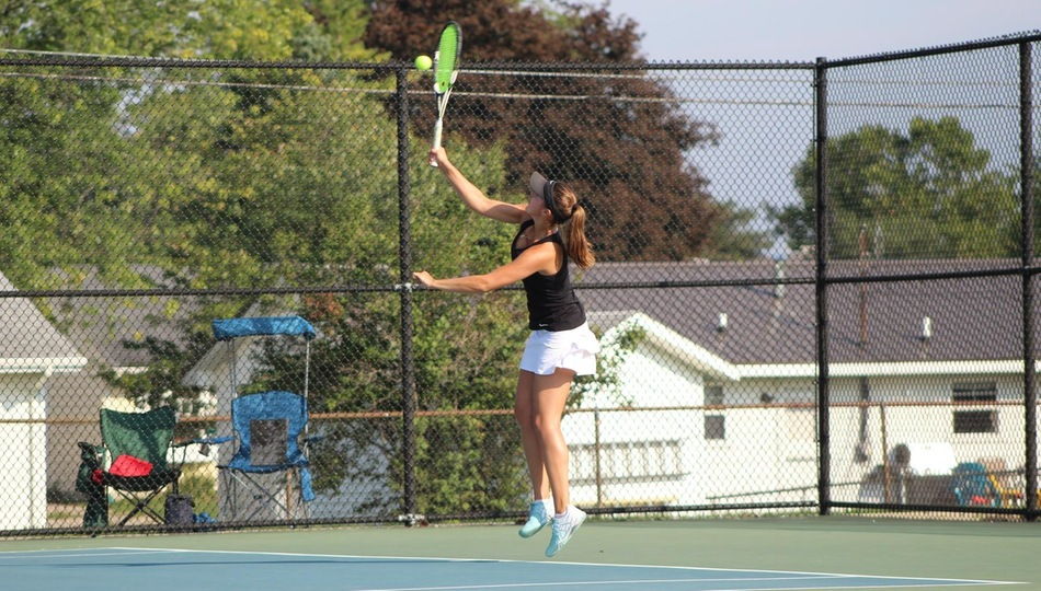Sara Anthony came close to a win at two singles, and gave the Belles some trouble with her partner Samantha Cyrus at one doubles in Saturday's loss to St. Mary's (Photo by Joseph Templin).