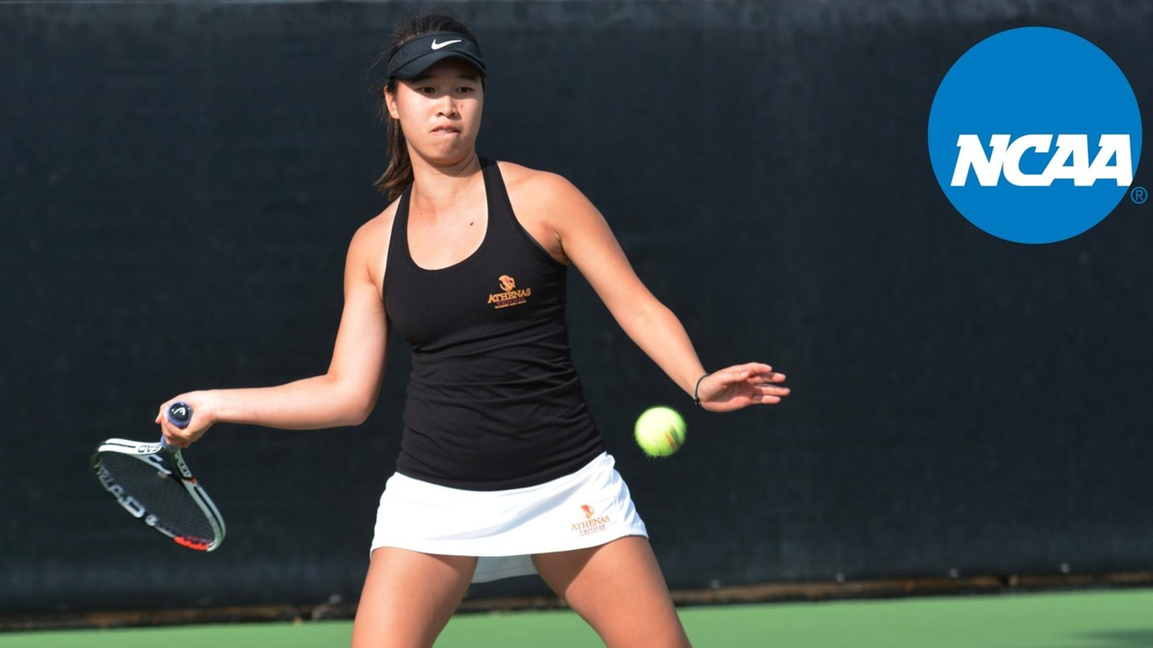Nicole Tan prepares to hit a forehand, with an NCAA logo superimposed over the photo