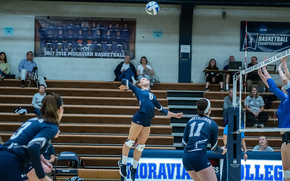 Senior Brooke Kusmider goes up for an attack attempt versus Franklin & Marshall College in Johnston Hall.