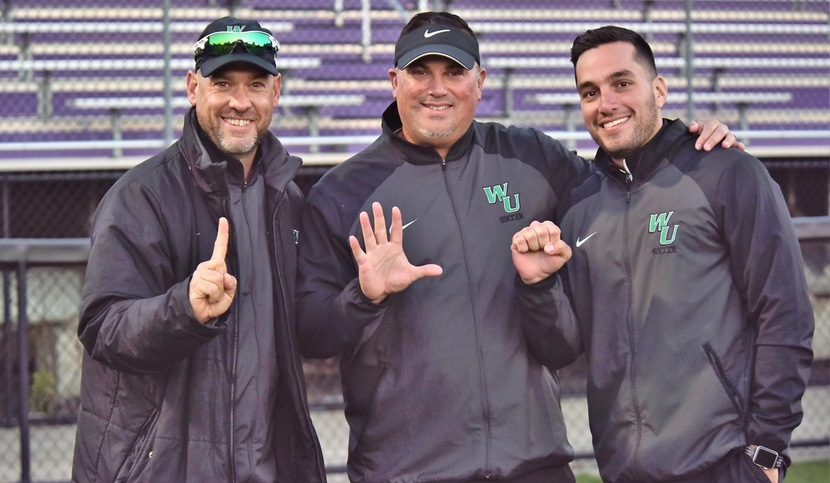 Copyright 2017; Wilmington University. All rights reserved. Photo of head coach Nick Papanicolas (center) with assistant coaches Greg Cope (left) and Mario Yepes (right) following the 2-1 win at Bridgeport, taken by James Jones.