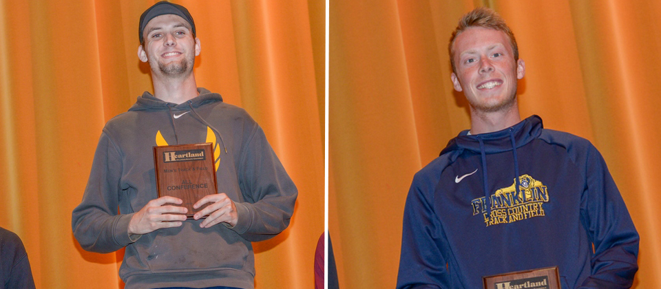Matt Stienke (left) and Clayton Brumfield atop their podiums at the awards ceremony. Photos courtesy of MSJ athletics.