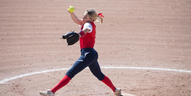 Annie Hansen tossed a no-hitter in Saturday's second game victory over Bellarmine in the Music City Invitational...