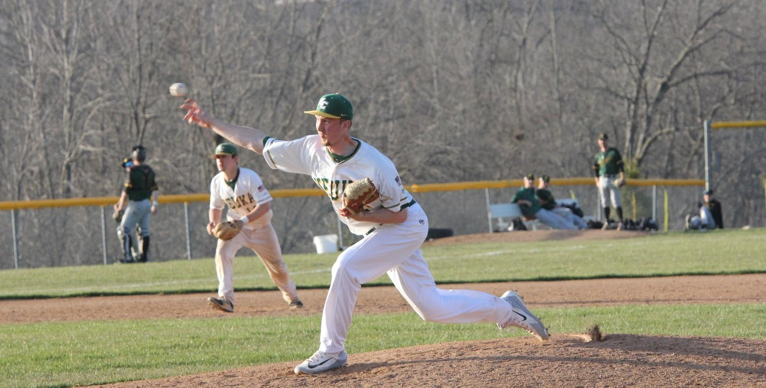 K.C. Howe (26) picked up the win on the mound in Game 2 for the Wolves