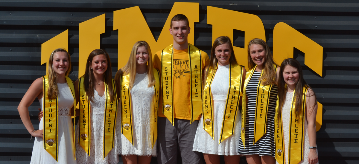 UMBC's seven America East Presidential Scholars (from l to r): Allison Atkinson, Molly Meka, Brooke St. Martin, Joe Sherburne, Kira Morgan, Courtney Mattson, and Gabrielle Boehmer