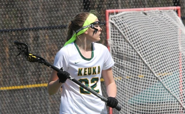Kendall Neuberger (22) moved into the top 10 in Keuka College history for caused turnovers in a career
