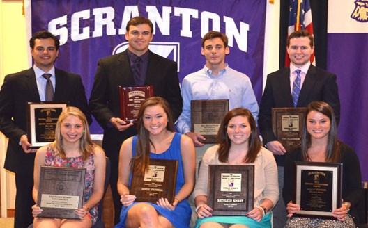 1st row (l-r):  Gretchen Kempf (O'Hara Award recipient), Emily Farrell (Carlesimo Award co-recipient), Kathleen Smart (Carlesimo Award co-recipient), Sarah Gibbons (Fitzpatrick Award co-recipient)