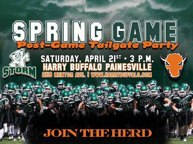 Follow the Storm and Join the Herd at the Spring Game Tailgate at Harry Buffalo