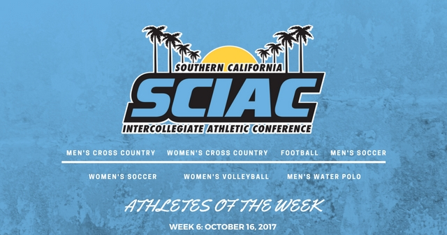 SCIAC Athletes of the Week: October 16, 2017