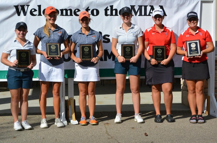 2017 All-MIAA Women's Golf First Team members, including Olivet's Ashley Folleth and Nicole Deweyert