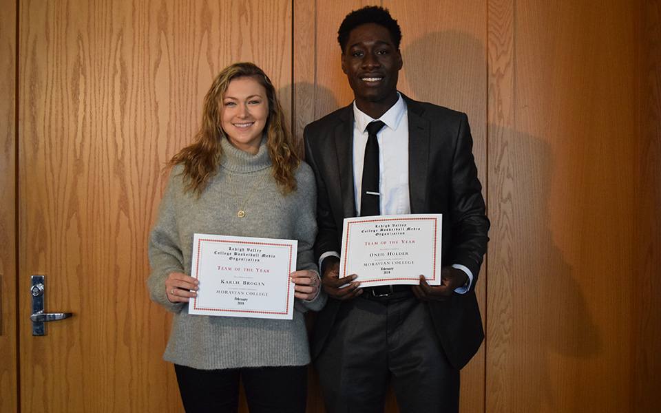 Junior Karlie Brogan and senior Oneil Holder named to the2019 Lehigh Valley Small College Basketball Media Organization Team of the Year.