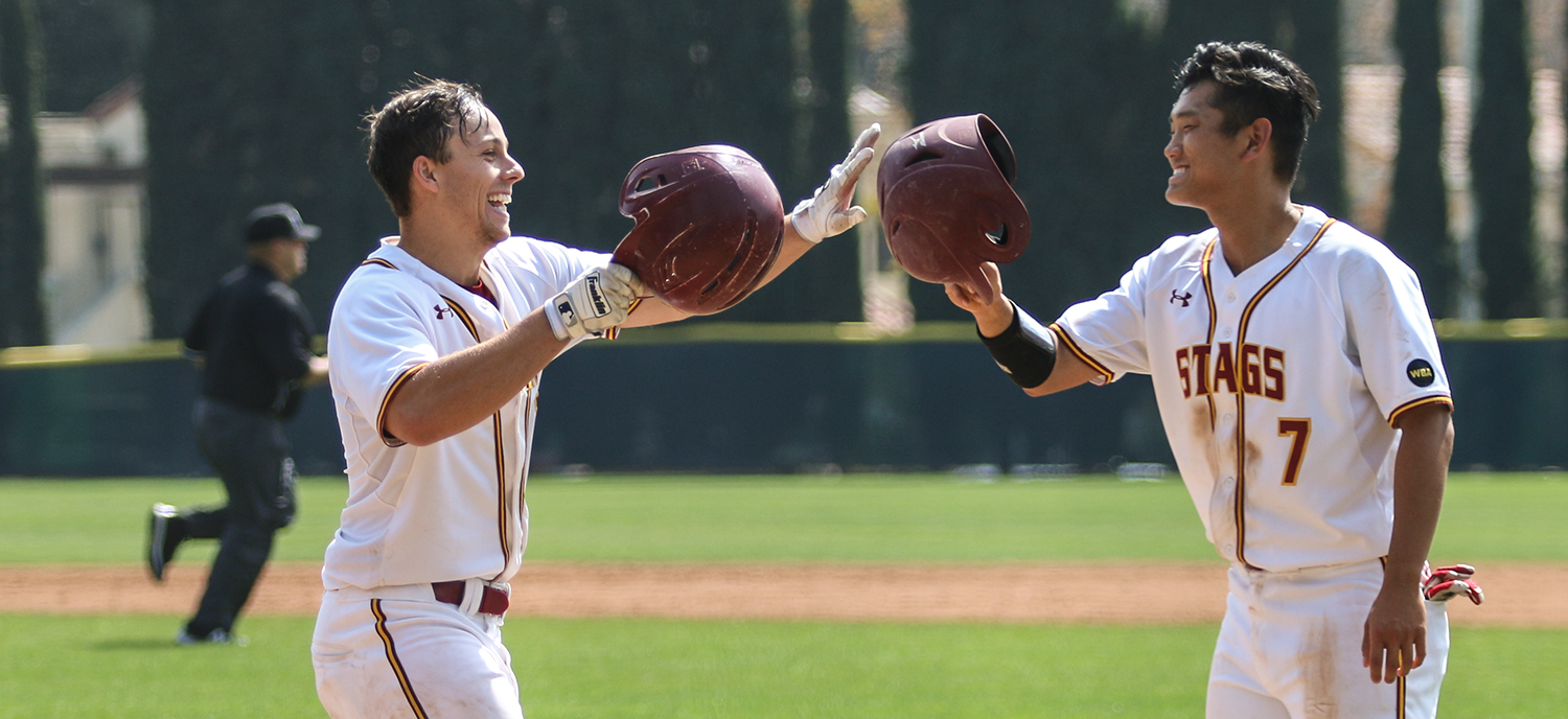 Chase Eller and Kevin Nakahara celebrate one of Eller's three home runs on Saturday. (photo credit: Alisha Alexander)
