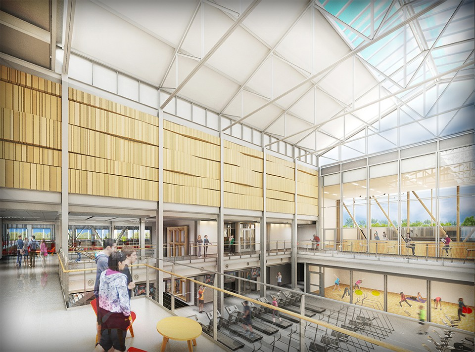 interior rendering of Sumers Recreation Center