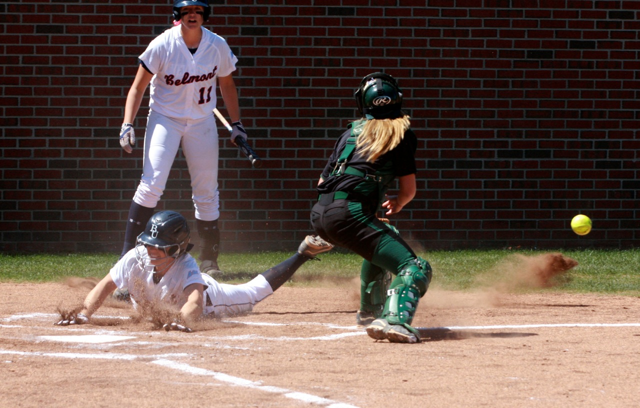 Ashley Hammer steals home against Stetson.
