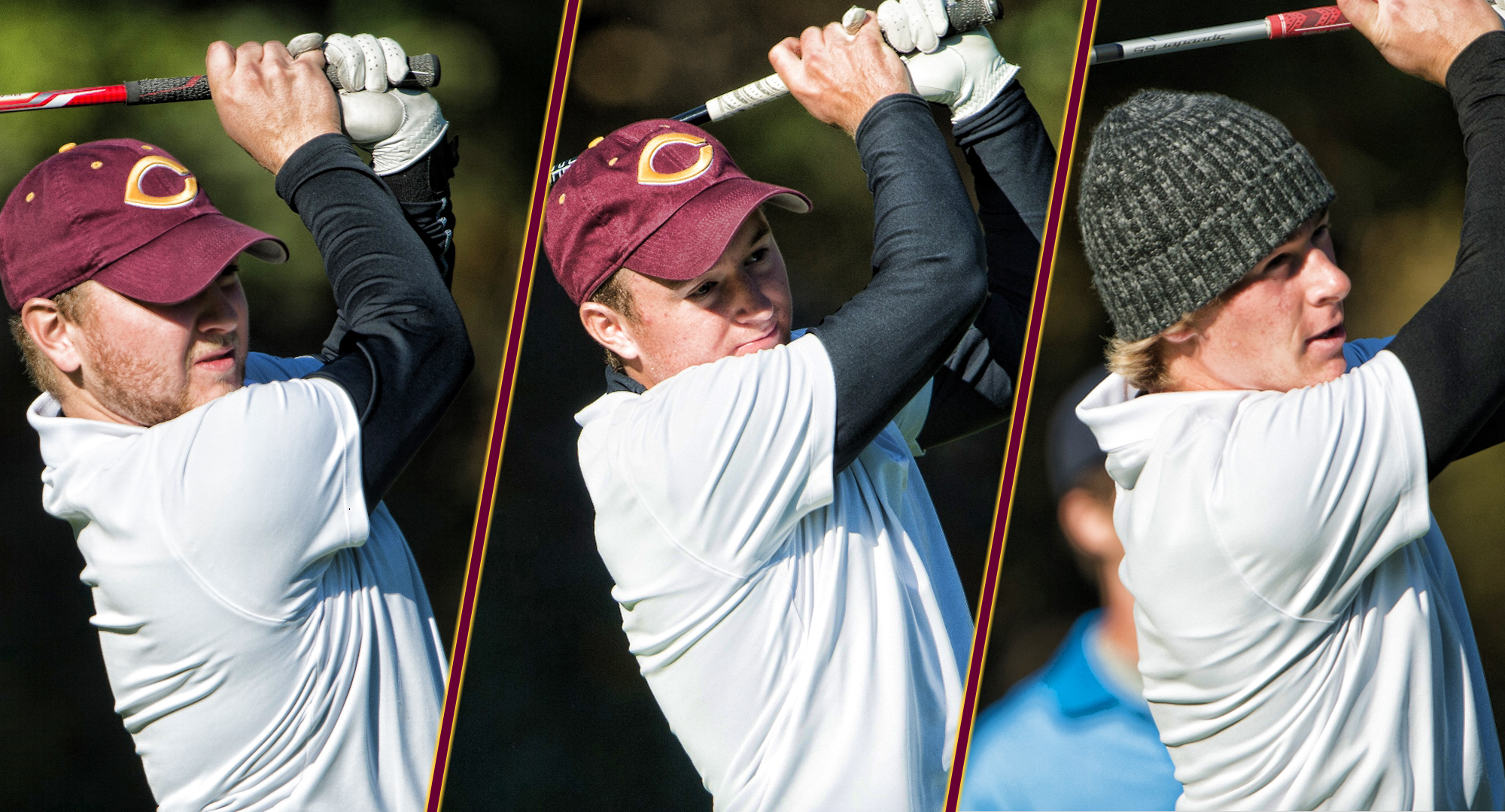 Nathaniel Kahlbaugh (L), Blake Kahlbaugh and Gage Stromme (R) all shot a 69 to lead the Cobbers to a single-round school record, and first place, at the Bobby Krig Invite.