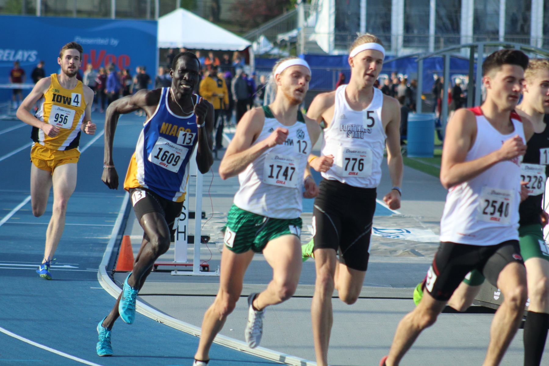 Wal Khat runs to a fourth place finish Thursday night in the 800 at the Drake Relays.