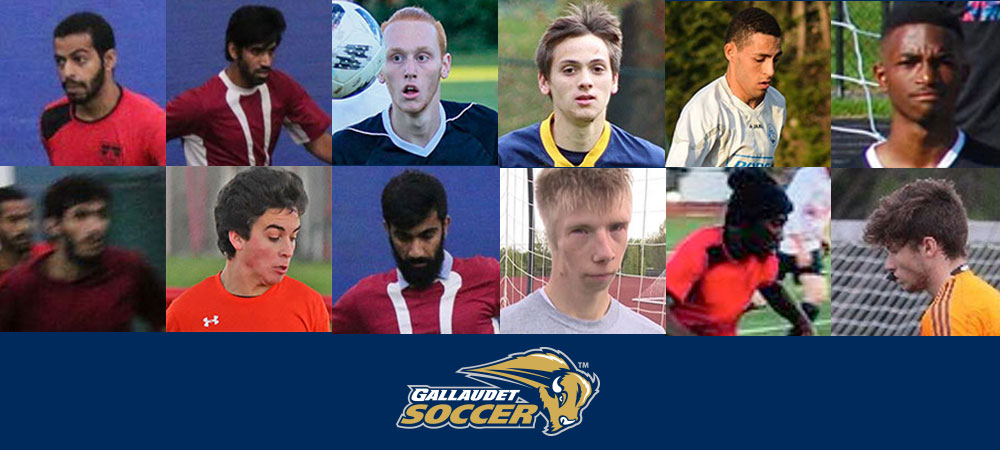 Gallaudet men's soccer 12-member recruiting class. 12 different headshots are put together. Six on the top row and six on the bottom row. A Gallaudet Soccer logo is in the middle at the bottom.