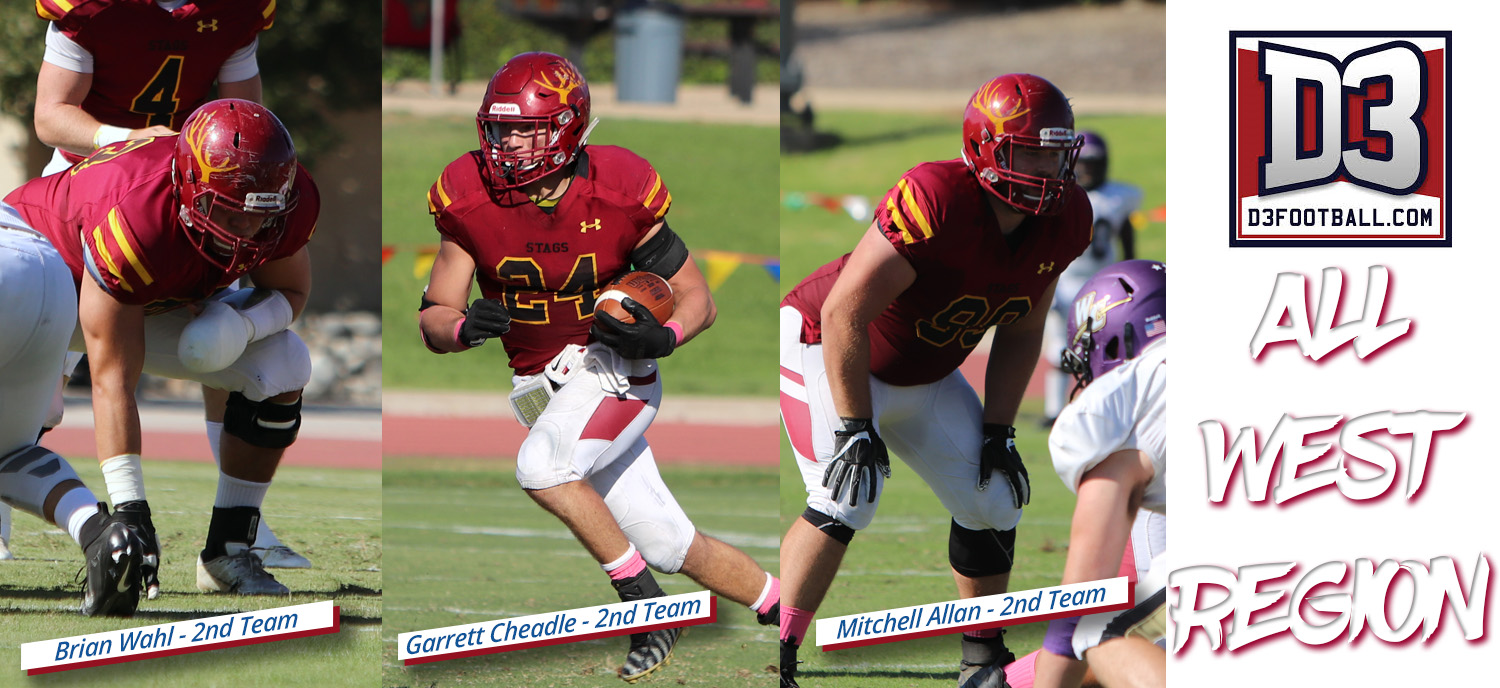Mitchell Allan, Garrett Cheadle, Brian Wahl Named to D3football.com All-West Region Team