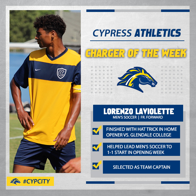 Lorenzo Laviolette Earns Charger of the Week (Aug. 27-Sept. 2)