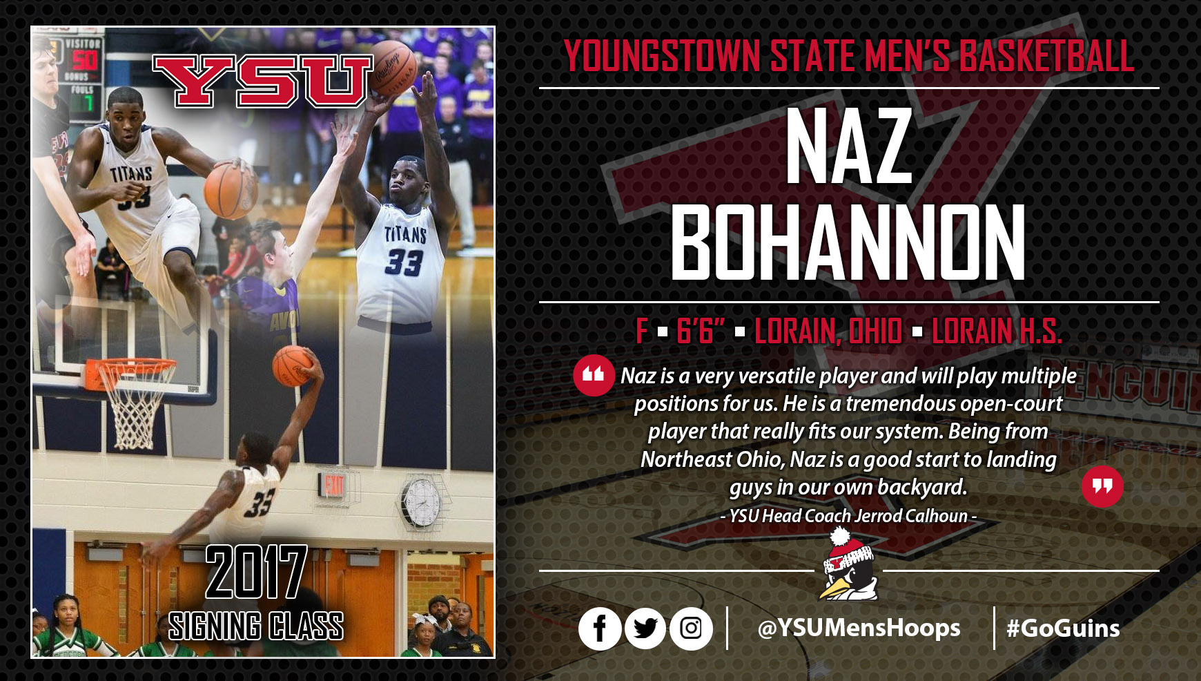 Youngstown State Men's Basketball Signs First-Team All-Ohio Pick Naz Bohannon
