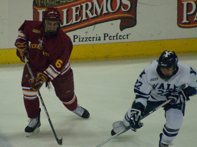 Casey Haines recorded Ferris State's lone score in a semifinal-round loss to Yale at the Badger Hockey Showdown. (Photo by Joe Gorby)