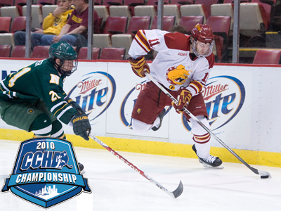 Jordie Johnston and the Bulldogs fall to Northern Michigan in overtime at CCHA Championship Semis.  (Photo by Ed Hyde)