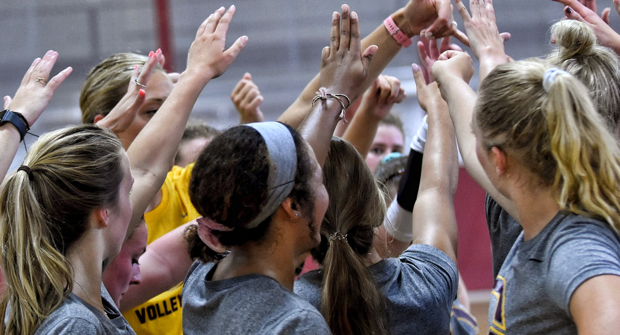 The 2019 Cobber volleyball team huddles together
