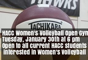 HACC Women's Volleyball Open Gym, January 30th at 6 pm