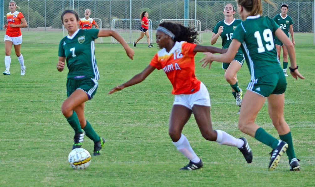 The Aztecs women's soccer team were unstoppable on offense as they scored 14 goals to beat Glendale Community College 14-1. Sophomore Jahmonique Smith scored four goals. The Aztecs are 5-2-1 on the season. Photo by Ben Carbajal.