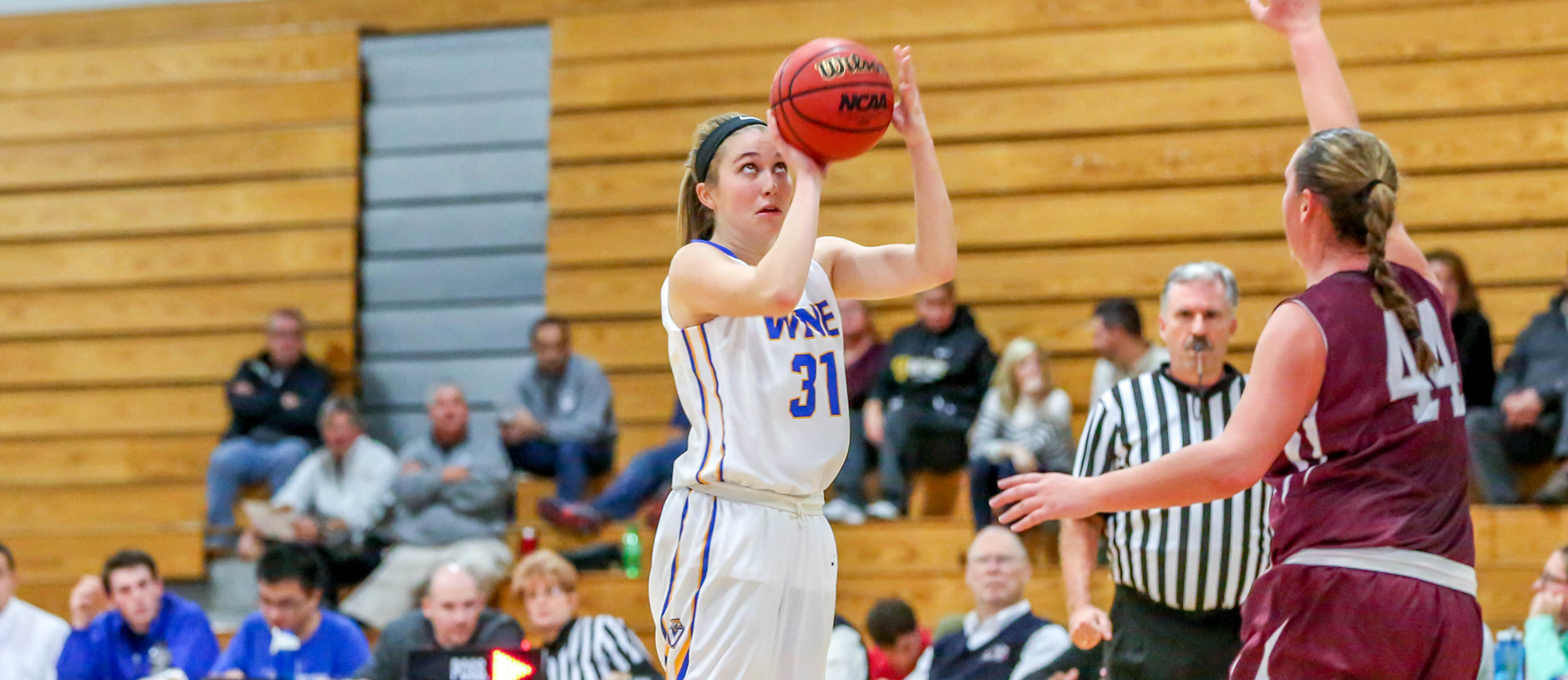 Sophomore Meghan Orbann scored a team-high 15 points, five of which came during a 10-0 run late in the fourth quarter of Western New England's 53-47 win over MCLA on Saturday.
