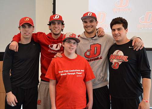 The Red Devil captains welcome the newest member of the Dickinson baseball team, Matt Kocsis, at a press conference on Saturday.