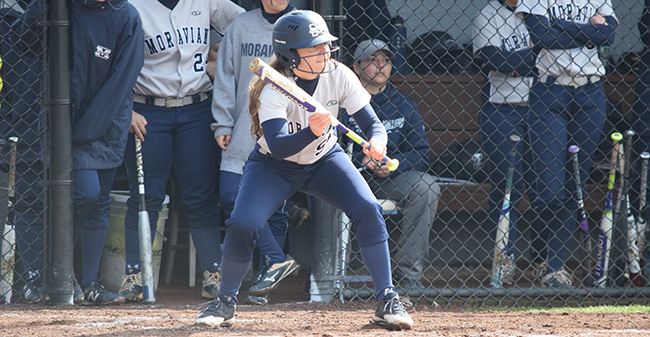 Julia DeMarco '19 looks to put down a bunt in the first game of a doubleheader versus Eastern University.