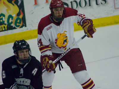 Todd Pococke's two goals help lead 12th-ranked Ferris State to a school-record tying 11th straight home victory.  (Photo by Joe Gorby)